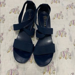 Ralph Lauren strapping wedges in Navy
